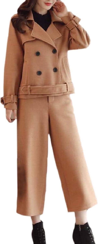 Xswsy XGCA Women Short Fashion 2 Piece Palazzo Pants DoubleBreasted Pea Coat