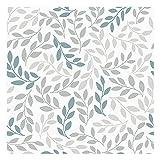 Vinilo Adhesivo para Muebles y Pared, 45 x 200cm, Hojas, Color Gris y Turquesa, VNL-091