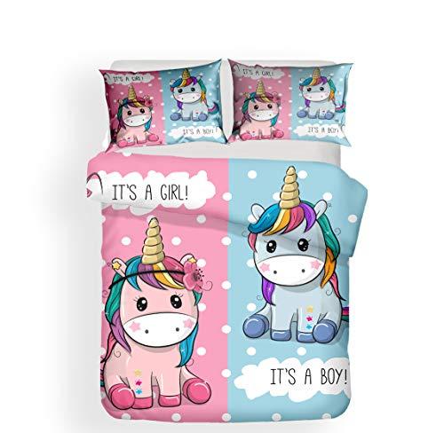 Pterygoid Collection Lindo juego de funda de edredón de unicornio, juegos de cama para niña