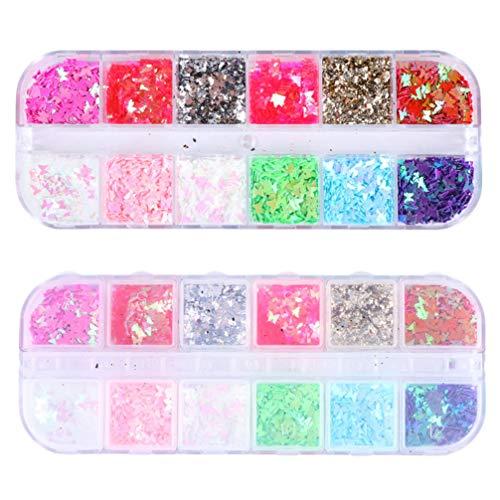 Pixnor 2 Boîte Paillettes à Ongles Holographique Papillon Paillettes à Ongles Chunky Autocollant Paillettes à Ongles pour Nail Art Et Maquillage