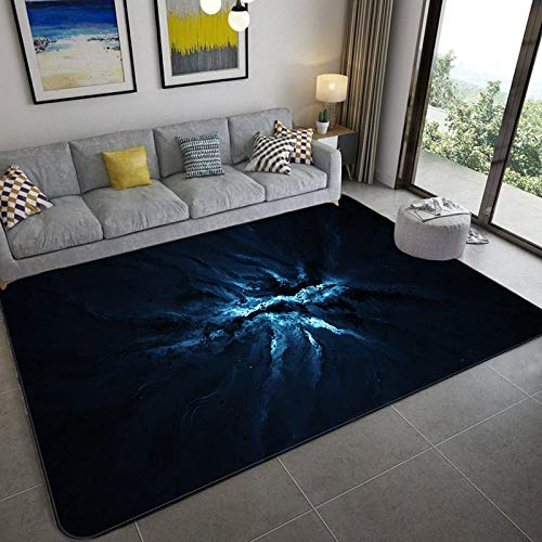 Grote tapijten voor de kinderkamer, woonkamer, indoor, anti-slip, zacht gezellig tapijt, abstract, zwart, blauw, mountainbike, 3D-print, antislip, rechthoekige vloermatten, huisdecoratie 40×60cm(16×24inch) zoals getoond