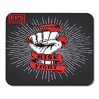 マウスパッドタトゥーブラック革命手拳古いリボンtシャツと抗議パンチマウスパッドノートブック、デスクトップコンピューターマウスマット、オフィス用品