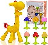 iNeego Mordedor para bebé de 7 piezas, juego de juguete para la dentición del bebé de 3 a 12 meses, mordedor de silicona suave que enfría los molares del bebé (fawn)