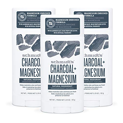 Schmidt's Aluminum Free Natural Deodorant for Women and Men, Charcoal + Magnesium 24 Hour Odor Protection, Certified Cruelty Free, Vegan Deodorant, 3.25 oz 3-pack