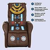 maxVitalis Massagesessel, Fernsehsessel mit Wärmefunktion, Shiatsu-Massage, Elektrische Aufstehfunktion, 5 Massagezonen, intelligenter Körperscan, praktisches Seitenfach (Braun) - 4