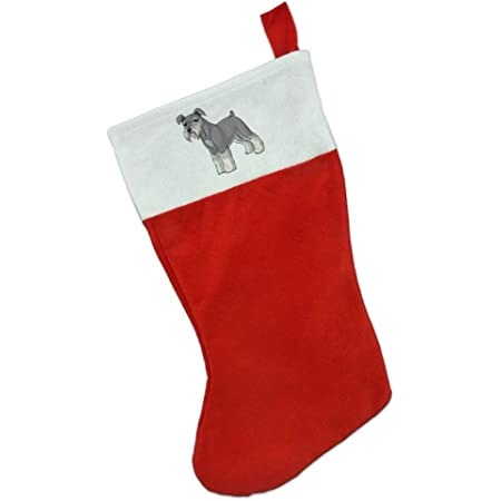 Pleuche Xmas Stocking for Childrens Gift Bags with Cuff Tberj92-P Cute Happy Howlidays Miniature Schnauzer Christmas Stocking 16 Inch
