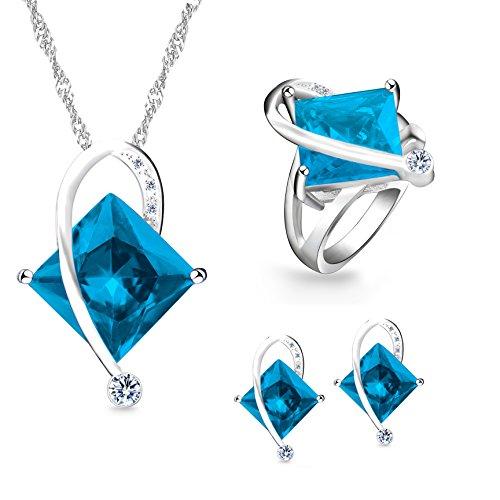 Uloveido Mujer Grande Cuadrado Azul Cristal Collar Encanto Gargantilla Collar Stud Pendientes Anillos Dama de Honor Conjunto de Joyas para Mujeres (Azul, Tamaño 19) T295