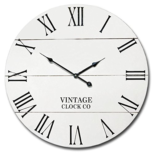 White Rustic Oversize Farm House Wall Clock