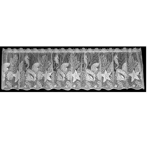 Heritage Lace Seascape 60-Inch Wide by 14-Inch Drop Valance, White