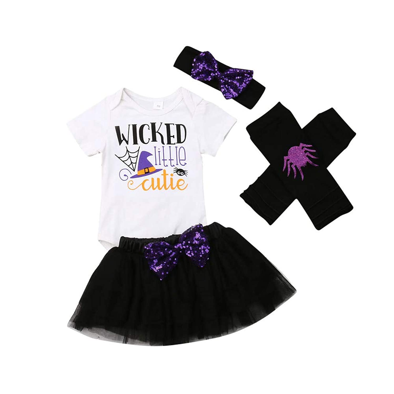 Newborn Baby Girls Halloween Clothes Letter Print Romper Tops Dress Headband Leg Warmers Outfit Sets