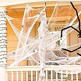 JIASHA Halloween Spider Web Decoraciones, tela de araña súper elástica con 20 arañas falsas de...