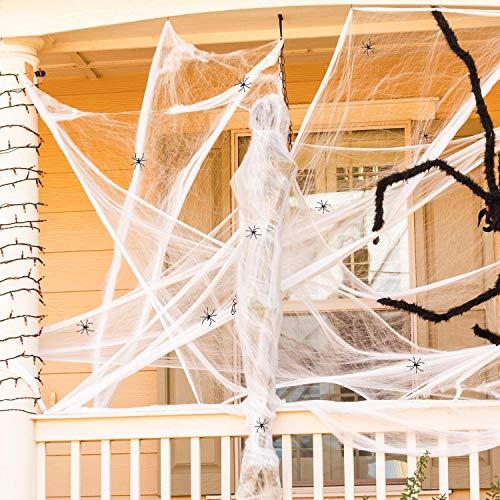 JIASHA Halloween Spider Web Decoraciones, tela de araña súper elástica con 20 arañas falsas de plástico para fiestas de Halloween accesorios de escena, bar casa encantada