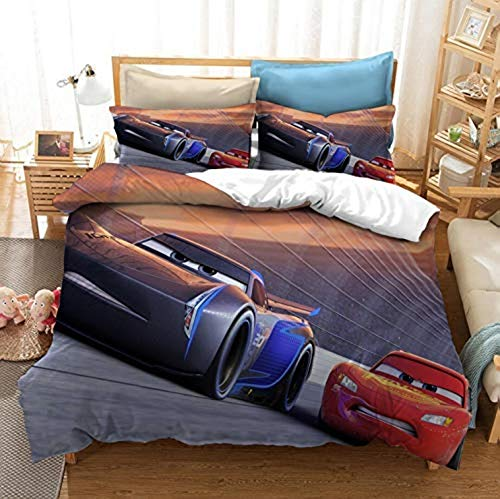 YOMOCO Juego de funda de edredón Lightning McQueen de 3 piezas (1 funda nórdica y 2 fundas de almohada) (A08,200 x 200 cm + 80 x 80 cm x 2)