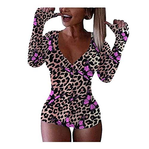 BOIYI Body para Mujer, Enterizo con Cuello en U para Mujer, Pijama con Estampado de Muchas Imágenes, Pijama, Pijama, Pijama, Ropa Interior de Manga Larga, Cuello en U, Leotardo de Una Pieza