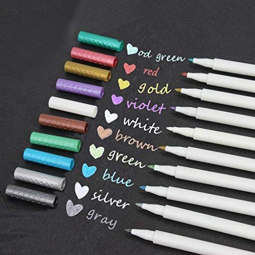 Metallic Calligraphy Marker Pens,Set of 10 Colors,Metallic Color Painting Pen for Birthday Greeting Gift Valentine's Day Cards Thank You Card DIY Scrapbook Photo Album