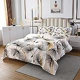 Homewish Marmor gesteppt 240x260, botanisches Blumenmuster Tagesdecke Goldene Steinkorn-Bettdecke Set für Mädchen Teens Frauen Marmor abstrakte Kunst Quilt-Set für Schlafzimmer Dekor