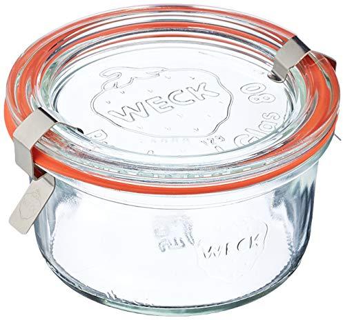 Weck Vasetto 165 ml con Coperchio da 80 mm, Completi di Guarnizione e Clips, Scatola da 12 Pezzi, Vetro, Trasparente