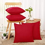 Deconovo Christmas Decorative Throw Pillow Case Christmas Pillow Covers Faux Linen Red Throw Cushion Covers Set of 4 18X18 Inches
