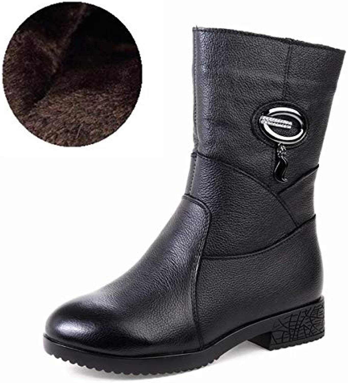 DDL- Snow Boots 2018 Women Winter Boots Genuine Leather Zipper Square Heel Thick Plush Warm Snow Boots Women Low Heel Mid Calf Boots