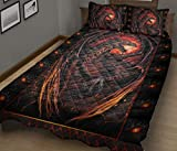 Red Dragon Quilt - The Black and Red Quilt Patterned Quilt King Queen Twin Throw Size - All Season Comfortable Quilt for Thanksgiving, Christmas