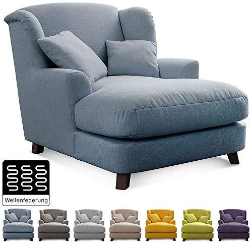 Cavadore XXL-Sessel Assado / Großer Polstersessel mit Holzfüßen und großer Sitzfläche / Inkl. 2 Zierkissen / 109 x 104 x 145 / Flachgewebe Blau (Aqua)