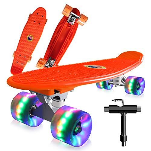 22' Skateboard Planche à roulettes avec LED Light Up Roues, Table en Plastique Renforcé, Mini...