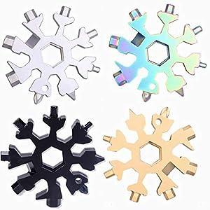 Multiherramienta de acero inoxidable para bicicleta, herramienta multifunción 18 en 1, copo de nieve, tarjeta multiherramienta, llavero, abrebotellas, llave hexagonal, 4 colores diferentes