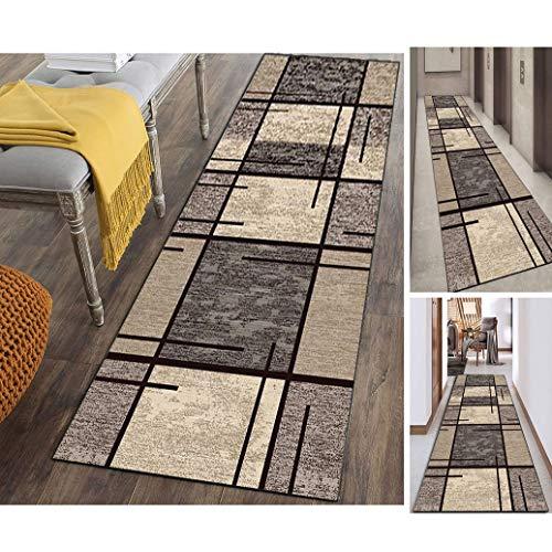 Hciszl Läufer Teppich Flur Grau Braun 80x300cm Küche rutschfest Waschbar Geometrisches 3D-Druckmuster Nach Maß Modernes Teppich