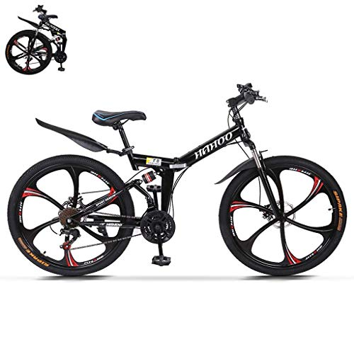 TOUNTLETS 26 Inch Adult Mountain Bikes Unisex Folding Bike Non-Slip Bicycles, Fast-Speed Comfortable Outroad Racing Cycling,21-Speed Gears Dual Disc Brakes Mountain Bicycle for Men/Women