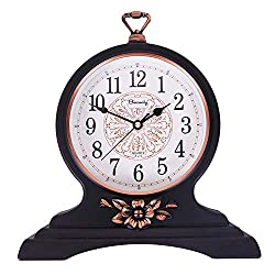 Mantel Clock-12 Inch Mantel Clock, Silent and Non-Ticking, Retro Mantel Clock for Living Room/Kitchen Decoration (Black)