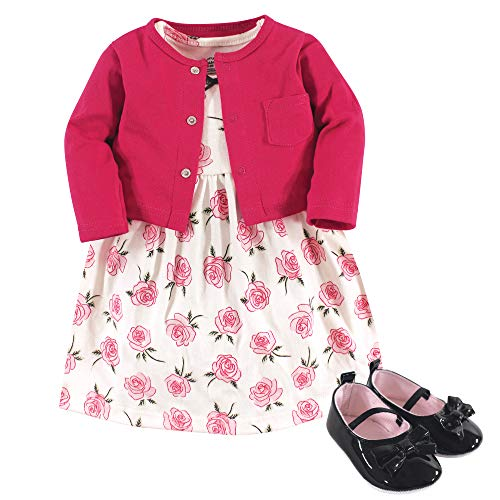 Little Treasure Baby Girl Cotton Cardigan, Dress and Shoe, Rose, 3-6 Months