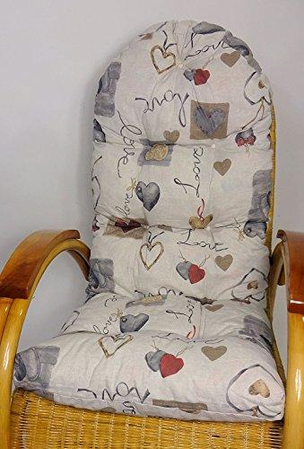 Rattani Auflage/Polster für Schaukelstuhl, Liegestuhl, Ersatzpolster Gr. 130 x 50 x 12 cm, Stoff Mirha Leinen Love - Made in EU