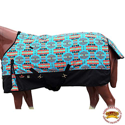 HILASON 72' 1200D Poly Waterproof Turnout Winter Horse Blanket Turquoise