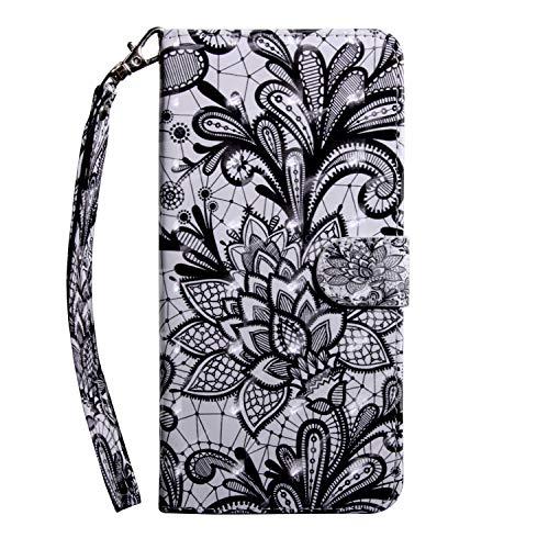 Sunrive Hülle Für Lenovo K6 / K6 Power, Magnetisch Schaltfläche Ledertasche Schutzhülle Hülle Handyhülle Schalen Handy Tasche Lederhülle(T Blume 13)+Gratis Universal Eingabestift