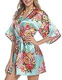 Hawiton Damen Morgenmantel Kimono Glatte Satin Nachtwäsche Rose Blüten Muster Kimono Negligee Seidenrobe locker Schlafanzug - Hellblau M