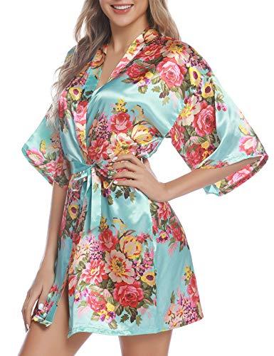 Hawiton Damen Morgenmantel Kimono glatte Satin Nachtwäsche Rose Blüten Muster Kimono Negligee Seidenrobe Locker Schlafanzug - Hellblau XXL