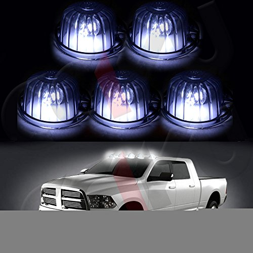 cciyu QTY(5) Smoke Round Cab Marker Light 9069A Cover + 5pcs free 168 led 6-5730-SMD Xenon White Replacement fit for for Chevrolet truck pickup
