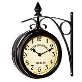 Deuba Zweiseitige Bahnhofsuhr - Wanduhr Uhr Retro Antik Stil Quarz schwarz