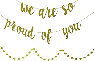 YOFEY1 | Graduation Decorations,Graduation Party Supplies 2019,We are So Proud of You Banner, with Gold Glittery Circle Dots Garland, Congratulations Banner,Congrats Banner