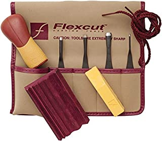 Flexcut Carving Tools, Printmaking Set, 4 Carving Blades and Quick-Connect ABS Handle Included, 5-Piece Set (SK130)