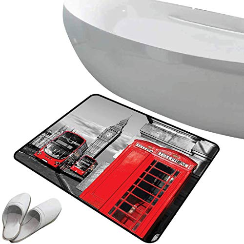 Alfombra de baño antideslizante de felpudo Londres Alfombrilla goma antideslizante Cabina telefónica de Londres en el icono cultural local tradicional de la calle Inglaterra Reino Unido Retro,lila y b