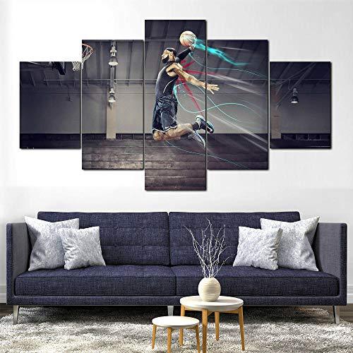 AWER Cuadros colgantes de lienzo de 5 piezas Baloncesto Cuadros Decoracion Salon Modernos HD Impresión Foto Innovador Regalo Enmarcado