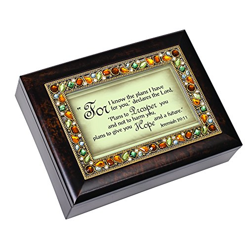 Cottage Garden Know The Plans for You Amber Earth Tone Jewelry Music Box Plays How Great Thou Art
