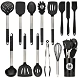 Keadeso Kitchen Utensil Sets, 14Pcs Silicone Cooking Utensils with Holder Spatula Tools, Kitchen Supplies Heat Resistant Home Essentials BPA Free Non Toxic Gadgets with Stainless Steel Handle-Black