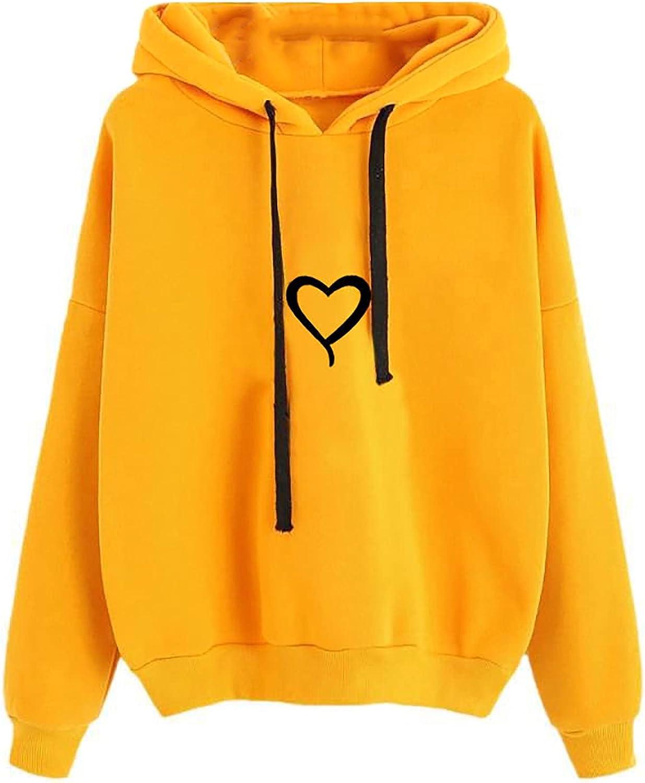 UOCUFY Sweatshirts for Women, Womens Tops 2021 Cute Printed Long Sleeve Pullover Sweatshirts Loose Drawstring Hoodie