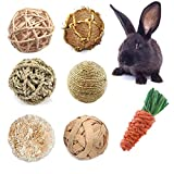 CooShou Small Animals Play Balls Rabbit Rolling Activity Toys Bunny Chewing & Gnawing Treats Toys for Guinea Pigs, Rabbits, Chinchilla, Hamsters 7Pcs