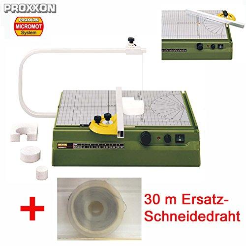 PROXXON Styroporschneider / Heißdraht-Schneidegerät THERMOCUT 230/E Set - inklusive 2-Funktionen-Anschlag mit klemmbarer Führungsschiene und 30 m Ersatz-Schneidedraht