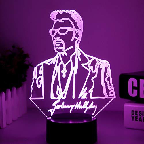 Lámpara de mesa única Waylon Jennings Lámpara de mesa con figura Ventiladores adultos Decoración de dormitorio Cambio de color Lámpara de mesa de noche USB