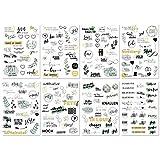 Sticker Hochzeit Gästebuch (8 Bögen) - Vintage Hochzeit Aufkleber für Gästebuch oder Fotoalbum mit viel Liebe - Love Stickers für Scrapbook oder Bullet Journal - Wedding Deko mit Herz - Goldgrün