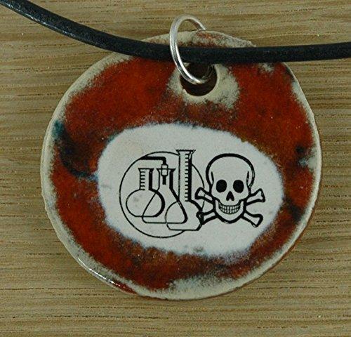 Echtes Kunsthandwerk: Hübscher Keramik Anhänger Achtung giftig! Chemie, Molekül, Element, Wasserstoff, Kohlenstoff, chemische Verbindung, Giftstoffe, Gefahr